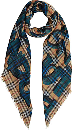 Burberrys large crest embroidered scarf 168x30 Burberry