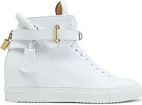 Buscemi Woman Embellished Two-tone Leather High-top Sneakers White Size 35 Buscemi