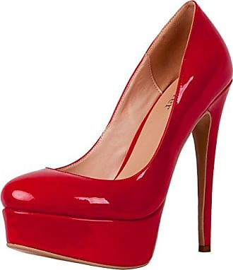 SHOWHOW Damen Nubuk Metall Plateau High Heels Stilettos Pumps Rot 38 EU