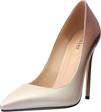 Calaier Damen Caeverybody 10CM Stiletto Schlüpfen Pumps Schuhe, Rot, 35.5