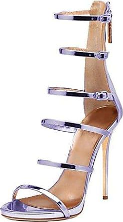 ff23ff60182509 Damen Cainter 12CM Stiletto Reißverschluss Sandalen Schuhe Violett ...