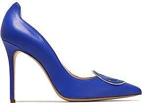 Camilla Elphick Woman Appliquéd Leather Pumps Bright Blue Size 38.5 Camilla Elphick