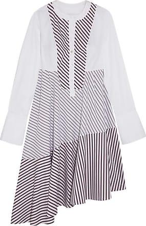 Robe Midi Asymétrique à Empiècements En Popeline De Coton Rayée - BlancCarven