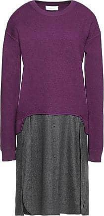 Carven Woman Striped Metallic Merino Wool-blend Midi Dress Violet Size L Carven