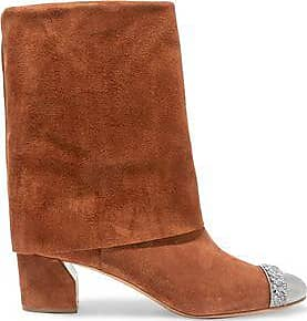 Casadei Woman Embellished Suede Boots Camel Size 39