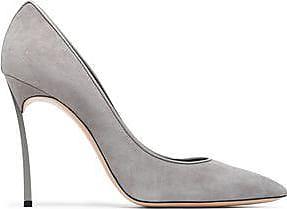 Casadei Woman Crystal-embellished Metallic Leather Ballet Flats Marigold Size 35