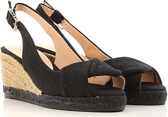 Cuñas para Mujer, Zapatos de Cuña Baratos en Rebajas, Platino, Lona, 2017, 35 41 Castaner