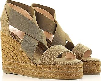 Cuñas para Mujer, Zapatos de Cuña Baratos en Rebajas, Verde Militar Oscuro, Lona, 2017, 35 36 37 38 40 41 Castaner