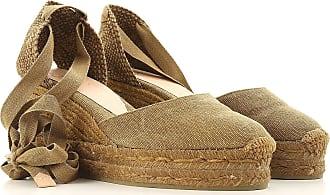 Cuñas para Mujer, Zapatos de Cuña Baratos en Rebajas, Verde Militar Oscuro, Lona, 2017, 35 36 38 40 41 Castaner