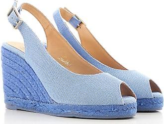 Peep Toe Open Shoes & Heels On Sale, Azure, Canvas, 2017, 2.5 3.5 4.5 5.5 7.5 8.5 Castaner