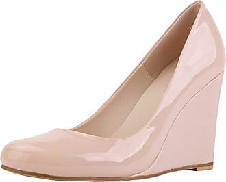 CFP , Damen Durchgängies Plateau Sandalen mit Keilabsatz , beige - beige - Größe: 35