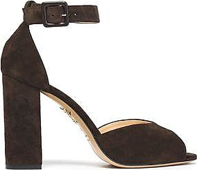 Charlotte Olympia Woman Suede Sandals Charcoal Size 36 Charlotte Olympia