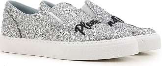 Slip on Sneakers for Women, Silver, Glittered Leather, 2017, 3.5 Chiara Ferragni