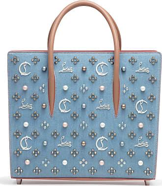 Christian Louboutin Paloma Loubinthesky Medium Blue Denim Pearl Tote Bag