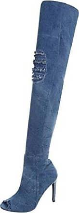 SHOWHOW Damen Overknee Langschaft Stiefel Stiletto Lack Schaftstiefel Rot 40 EU