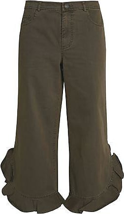 Cinq À Sept Woman Wysteria Frayed Cotton-twill Kick-flare Pants Army Green Size 10 Cinq à Sept
