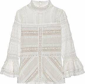 Cinq À Sept Woman Martine Ruffled Cotton-blend Lace Blouse Ivory Size S Cinq à Sept