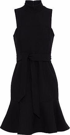 Cinq À Sept Woman Belted Fluted Crepe Dress Black Size 6 Cinq à Sept