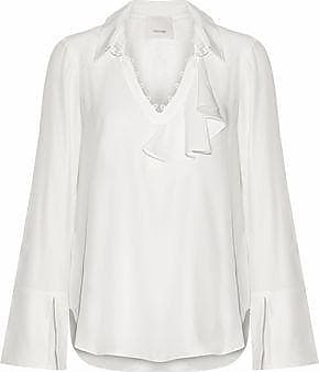 Cinq À Sept Woman Shirred Ruffled Striped Cotton-poplin Top Sky Blue Size XS Cinq à Sept