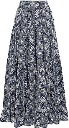 Co Woman Embroidered Cotton Maxi Skirt Navy Size XS Co