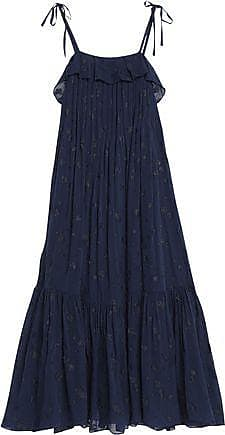 Co Woman Ruffled Silk-blend Fil Coupe Maxi Dress Navy Size S Co