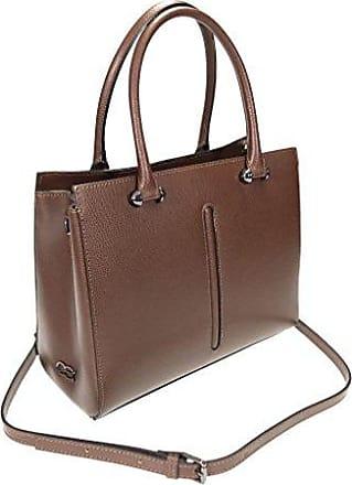 Echt Leder Handtasche mit langem Trageriemen, 25x17x7cm (braun) Collezione Alessandro