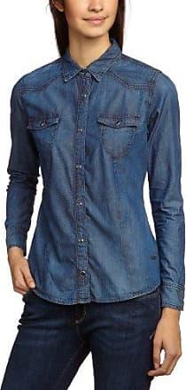 Cross Jeanswear Denim Bluse - Blusa Mujer, Color Azul, Talla 40 (Talla Fabricante: L)