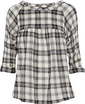 Current/elliott Woman Checked Cotton-blend Flannel Shirt Ecru Size 3 Current Elliott