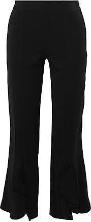 Cushnie Et Ochs Woman Cropped Ruffled Stretch-crepe Straight-leg Pants Midnight Blue Size 0 Cushnie et Ochs