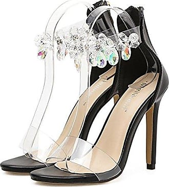 CXKS Fashino Strass Transparente Stiletto Sandalen Sommer Damen Schuhe Sexy Crystal Ankle Wrap