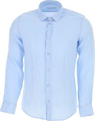Camisa de Hombre Baratos en Rebajas, Azul Medianoche, Lino, 2017, M S Daniele Alessandrini