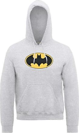 Mens DC0000091 DC Comics Official Batman Retro Logo Crackle Hooded Long Sleeve Hoodie DC Comics