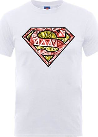 Camiseta Manga Corta Superman Stencil Blanco 2XL DC Comics