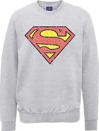 Mens DC0000896 DC Comics Official Superman Engraving Logo Crew Neck Long Sleeve Sweatshirt DC Comics