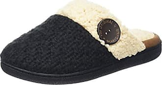 DearfoamsTextured Knit Closed Toe Scuff - Talón Abierto Mujer, Color Gris, Talla 40/41