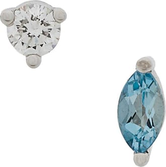 Delfina Delettrez 18kt gold Dots Solitaire peridot and aquamarine earrings - Metallic