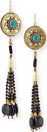 Devon Leigh Antiqued Turquoise & Onyx Beaded Earrings