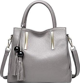VQ0889 Damen Grau Leder Handtaschen Satchel Tote Taschen Schultertaschen,30X12X31CM(LxBxH) Dissa