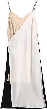 Dkny Woman Layered Crepe De Chine And Satin Midi Dress Off-white Size XS DKNY