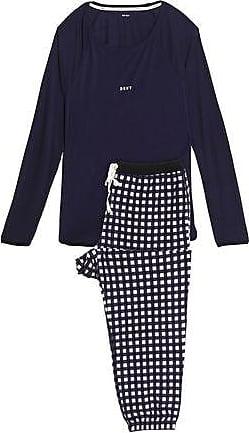 Dkny Woman Printed Fleece And Stretch Modal-jersey Pajama Set Dark Gray Size XL DKNY