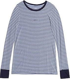 Dkny Woman Striped Stretch-modal Jersey Pajama Top Midnight Blue Size M DKNY