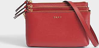 DKNY Sac Sutton Triple Zip Crossbody en Cuir Texturé Rouge