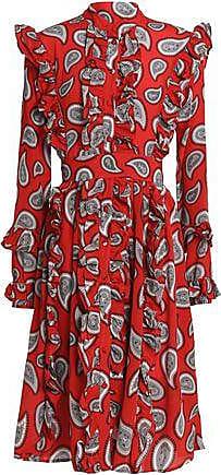 Dodo Bar Or Woman Ruffle-trimmed Two-tone Printed Silk Midi Dress Red Size 44 Dodo Bar Or