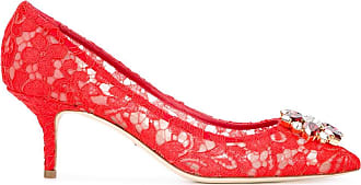 Dolce & Gabbana Woman Embellished Suede Pumps Red Size 36 Dolce & Gabbana