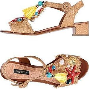 Sandales Plates-formes En Toile Métallisée Floquée - Imprimé léopardDolce & Gabbana