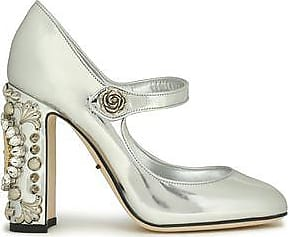 Dolce & Gabbana Woman Embellished Mirrored-leather Mary Jane Pumps Silver Size 35 Dolce & Gabbana