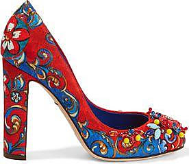 Dolce & Gabbana Woman Embellished Printed Brocade Pumps Crimson Size 37