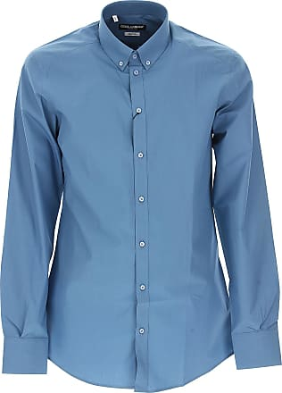 Shirt for Men On Sale in Outlet, Blue, Cotton, 2017, 15.75 Dolce & Gabbana