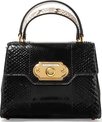 Dolce & Gabbana - Sac à Main En Cuir Lisse Et Effet Lézard à Appliqué Welcome Medium - Blanc