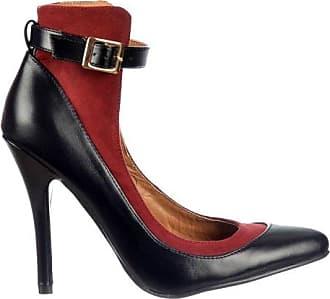 Damen Frauen Dolcis hoher Rückenlehne Knöchel Strap - Mittelklasse Heels Volle Toe - Schwarz / Burgund, Akt / Schwarz Black UK3 - EU36 - US5 - AU4